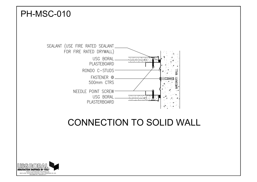 Connection To Solid Wall