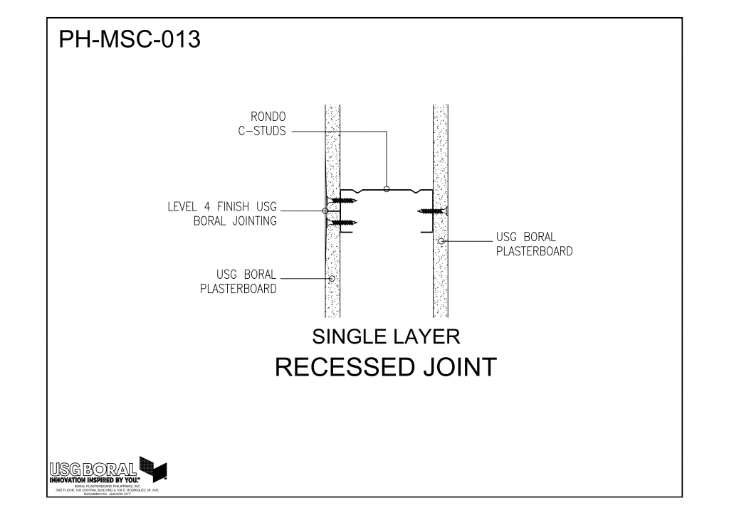 Single Layer - Recessed Joint