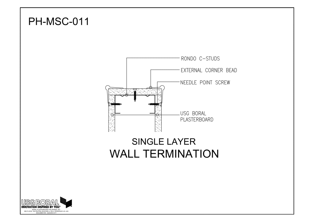 Single Layer - Wall Termination