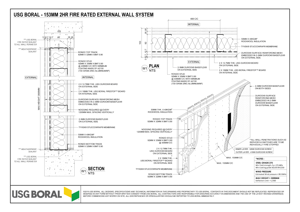 153MM 2HR FIRE RATED EXTERNAL WALL SYSTEM